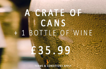 Dial-a-crate.com Crate Of Cans 1 Bottle Of Wine Special Offer Banner