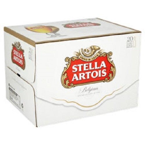 stella artois crate of cans image